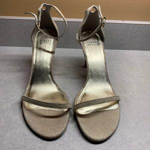 Stuart Weitzman textured cream 10M open toe sandal